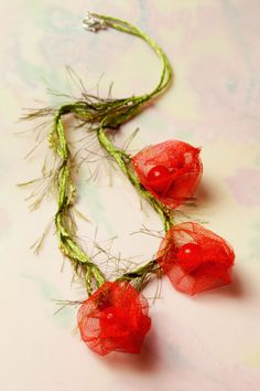 fiber art necklace red spring fashion jewelry Red by FiveOClocks
