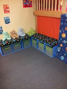 "DIY classroom library crate benches- A neat way to save space in the classroom through efficient use of supplies. It would be a good idea to combine these with bookshelves, but to have the crates serve as the ""readers corner."" You could label the crates a Classroom Design, Classroom Organization, Classroom Decor, Classroom Seats, Diy Organization, Classroom Furniture, Diy Storage Seat, Book Storage, Milk Crate Storage Ideas"