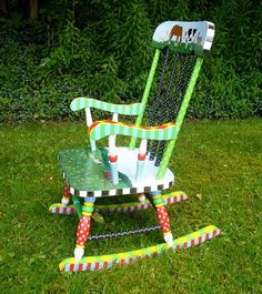 Hand Painted Child's Rocking Chair in Bright Colors with a Farm Scene and Animals on Etsy, $225.00