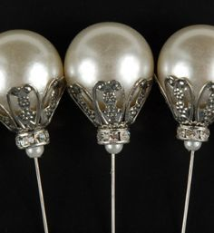 "Milton Adler Crown Jeweled Pearl 7"" Jeweled Picks (5 pins) $5.95 pack ($1.19 each)"