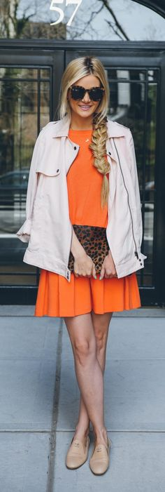 All the makings of a perfect, not-your-typical Sunday brunch look. Orange dress, leopard clutch, and nude loafers.