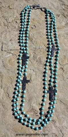 Three Stranded Turquoise Necklace with Printed Silver Crosses