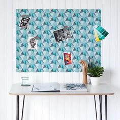 'Shards' design magnetic notice board by Beyond the Fridge. designed and made in Somerset, England. We think this geometric design is perfect for a workspace, home office or studio.