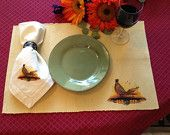 Pheasant Print Placemats by FallPheathers. $40 for a set of 4.