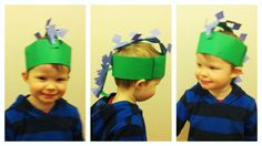 Making a paper stegosaurus dinosaur hat for Leo. Blurry pics as he was busy giving his best rahhh's
