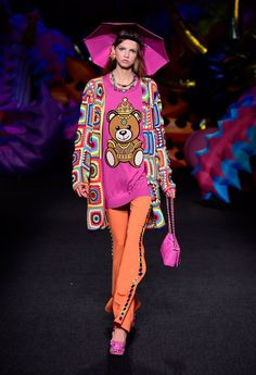 Pin for Later: Umbrella Hats, Cindy Crawford's Son, and More Things You Need to See From Moschino's Resort '17 Show Umbrella Hats and Graphics Could Be Spotted on the Catwalk