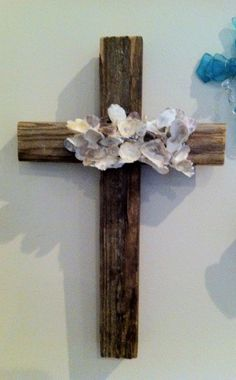 Shell Wall Cross by GinnyLinnyArt on Etsy, $25.00