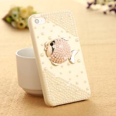 lovely pearl fish rivet alloy case for iphone4/4s