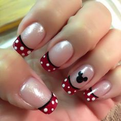 Here is Disney Nail Designs Gallery for you. Disney Nail Designs simple creative and cute disney nail art design you will love. Minnie Mouse Nails, Mickey Nails, Mickey Mouse Nail Design, Disney Nail Designs, Cute Nail Designs, French Tip Nail Designs, Fingernail Designs, Pedicure Designs, French Nails