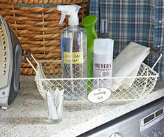 Simplify laundry room storage by keeping supplies for ironing, stains, and other purposes grouped together. See the rest of this small-space laundry room: http://www.bhg.com/rooms/laundry-room/makeovers/small-space-laundry-room-storage/?socsrc=bhgpin021313cleaningcaddy=4
