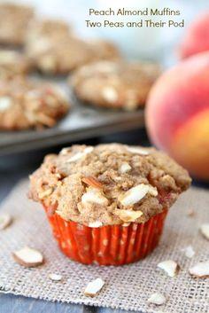 Peach Almond Muffins from www.twopeasandtheirpod.com #recipe #muffins