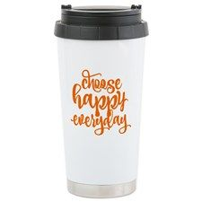 """CHOOSE HAPPY EVERYDAY Travel Mug  Insulated travel mug is constructed with durable double-wall stainless steel technology to keep a 16 oz. beverage hot/cold for hours Spill-resistant lid, convenient carry handle on lid Measures 7.25""""x3.5"""", coffee tumbler fits most car cup holders for an easy commute Dishwasher safe Drinkware designs professionally printed. Unique designs will make anyone smile with funny, cute artwork Make this to-go mug the perfect gift for Mother's Day, Father's Day."""