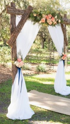 2019 Top 14 Must See Rustic Wedding Ideas for a Memorable Big Day---Navy & Pink Rustic Themed Countryside Wedding , wooden wedding arch with flowers greenery and chiffon, spring weddings, diy wedding decorations on a budget, Wedding Arch Rustic, Outdoor Wedding Decorations, Wedding Themes, Wedding Ceremony, Casual Country Wedding, Ceremony Arch, Wedding Greenery, Arch For Wedding, Arch Ways For Weddings