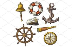 Anchor, wheel, sailing ship, compass rose, spyglass, lighthouse engraving by MoreVector on @creativemarket