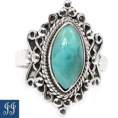 22464 Beautiful Larimar Dominican Republic 925 Sterling Silver Ring Size 9 | eBay