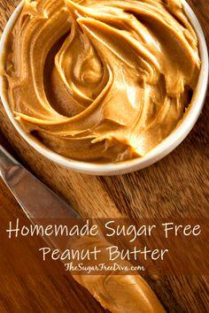 How to Make Homemade Sugar Free Peanut Butter Peanut Butter Spread Recipe, Sugar Free Peanut Butter, Homemade Peanut Butter, Peanut Butter Recipes, Homemade Recipe, Diabetic Snacks, Healthy Snacks For Diabetics, Diabetic Recipes, Cooking Recipes