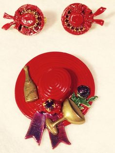Red Hat Society Special Occasion Red Enamel, Purple Stones, Brooch &  Earrings  | eBay
