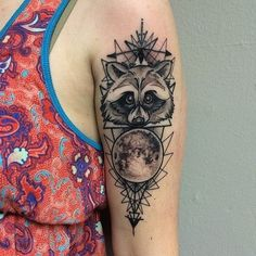 Raccoon & Moon Tattoo. I LOVE this so much. I want something along these lines for my thigh tattoo.