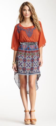 Flying Tomato Embroidered Print Combo Dress - LOVELOVELOVELOVELOVE