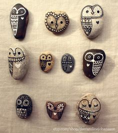 Hand Painted Rock Owls Best Friends by thecarolinejohansson