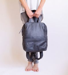 Hey, I found this really awesome Etsy listing at https://www.etsy.com/listing/194631948/grey-leather-backpack-laptop-bag