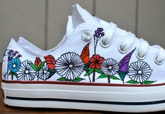 Custom hand painted flowers on low top Converse