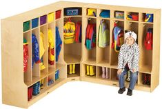 CORNER COAT LOCKER w/STEP | Honor Roll Childcare Supply - Early Education Furniture, Equipment and School Supplies.