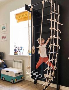 Holzsportkomplex Mini schwedische Mauer Strickleiter Seil Turnringe Reck To Rope Ladder, Wooden Ladder, Toy Rooms, Kids Room Design, Playroom Design, Playroom Decor, Kid Spaces, Diy For Kids, Kids Bedroom