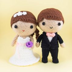 Bride and Groom Amigurumi Crochet. This sweet wedding couple is perfect as a wedding gift or wedding decor. This couple is made from 100% acrylic yarn, polyester fill, safety eyes and felt in a smoke-free and cat friendly home. The bride measures about 14cm/5.5in tall and 6.7cm/2.6in wide. The groom measures 15cm/5.95in tall and 6.9cm/2.7in wide. Both the bride and groom are made to stand on their own. However, some effort may be required to adjust the feet of the groom so that he can…