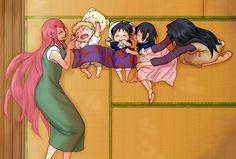 Kushina and Mikoto with their babies Naruto, Sasuke and Itachi