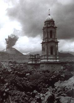 "Juan Rulfo,""Volcán Paricutín y la iglesia de Parangaricutiro enterrada por la lava, Mexico,"" 1945"