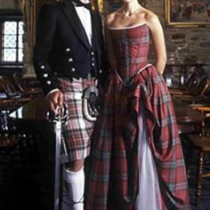 Traditional Scottish wedding attire for groom and bride