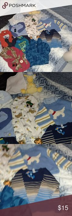 """Baby boy bundle Sizes from 6 months thru 3 years.  Onesies, bib receiving blanket and hat. Toy stuffed giraffe. T-shirts, heavier sweaters. Cool skull spring flannel coat and my favorite """"Hugh Hefner lookalike """" Robe!! Adorable. Also too many to count hot wheel and matchbox cars included!! Other"""