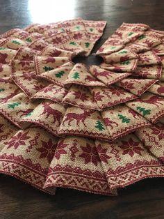 Ruffled Burlap Christmas Tree Skirt Rustic Theme with Deer