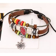* Penny Deals * - TEMEGO Jewelry Mens Womens Alloy Genuine Leather Braided Surfer Wrap Bracelet, Vintage Beads Hollowed Flower Charm Cuff Bracelet, Adjustable Fits 7-12 Inch -- Click image to review more details.