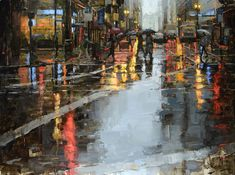 Kearny Street in the Rain, Oil on Panel 30x40, Private Collection Jacob Dhein