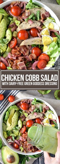 CHICKEN COBB SALAD WITH DAIRY-FREE GREEN GODDESS DRESSING
