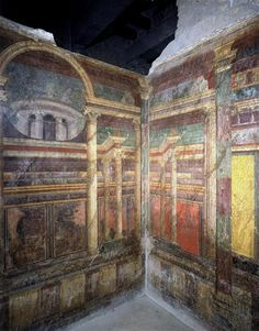 Pompéi, Villa des Mystères, cubiculum (chambre à coucher) : décor architectural