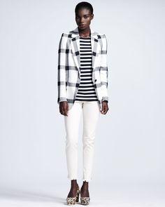 http://ncrni.com/stella-mccartney-largecheck-gingham-blazer-longsleeve-mixedprint-tee-fringehem-skinny-jeans-p-5169.html