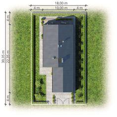 Pelikan Slim VII Bis. Dom parterowy z garażem, na wąską działkę - Studio Atrium