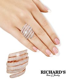 Diamond Coil Ring in Rose Gold Rose Gold Jewelry, Body Jewelry, Diamond Jewelry, Jewelry Rings, Fashion Rings, Fashion Jewelry, Schmuck Design, Trendy Jewelry, Ring Designs