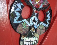 ROSARIO - MOSAIC Sugar SKULL - Ceramic and Stained Glass Wall Hanging