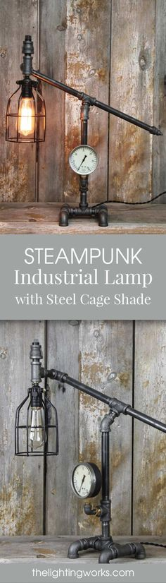Steampunk Industrial Machine Age Desk Lamp Travel back in time to the machine age with this incredible table lamp! This multipurpose piece of art is not only a fully functional lamp, but a great piece