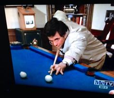 Columbo plays pool ... Peter Falk was said to be a good shot despite only having one functional eye.