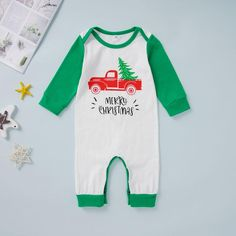 Unisex Baby Merry Christmas Letter Jumpsuit - anmino Baby Boy Jumpsuit, Kids Fashion, Fashion Outfits, Jumpsuits For Girls, Unisex Baby, Clothes For Sale, Merry Christmas, Lettering, Boys