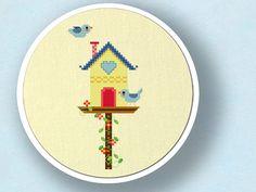 Sweet Bird House. Cross Stitch Pattern. PDF File by andwabisabi, $4.00
