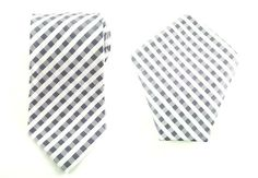 Mens Necktie Grey Black White Plaids 8.5 CM Necktie And Pocket Square.