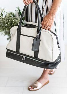Natural Mason Canvas Weekender-Jessakae, weekender, tote, bag, baggage, rose gold, slip ons, flowers, striped dress, wrap dress
