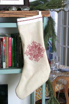 Scandinavian Christmas stocking with Snowflake embroidery