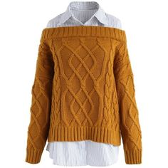 Chicwish Preppy Fake Two-piece Cable Knit Sweater in Bronze ($55) ❤ liked on Polyvore featuring tops, sweaters, yellow, brown top, brown cable knit sweater, yellow sweater, faux tops and preppy tops